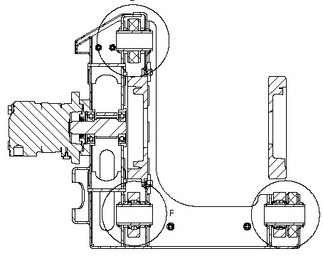 Section drawing schematic of Kobus Pipe Puller winch section